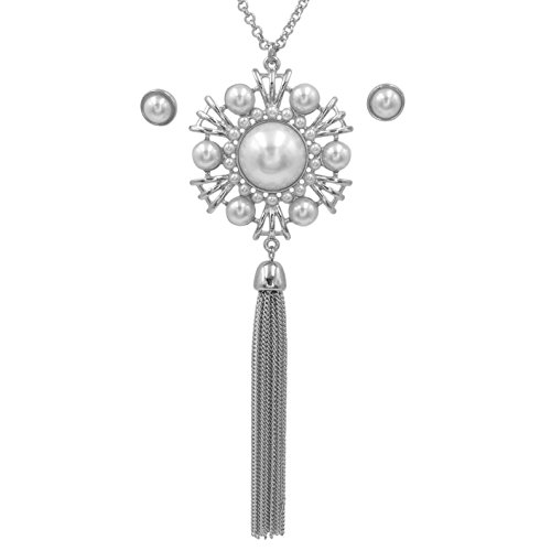 Gypsy Jewels Long Silver Tone Tassel Simple Necklace & Earring Set (Imitation Pearl Medallion)
