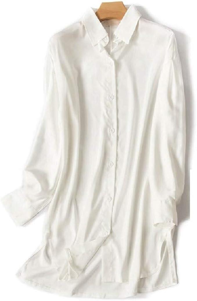 Mmllse Pijama Sexy Mujer Verano Blanco Y Negro De Seda Camisa De Manga Larga Camisón Modelos De Primavera Y Verano L: Amazon.es: Ropa y accesorios