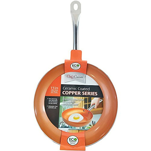 Chef's Cuisine - 11 Inches Copper Frying Pan - Ceramic Coated Aluminium Non Stick Fry Pans with Stainless Steel Handle