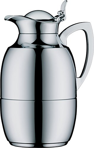 (alfi Juwel Glass Vacuum Chrome Plated Brass Thermal Carafe for Hot and Cold Beverages, 0.75 L,)