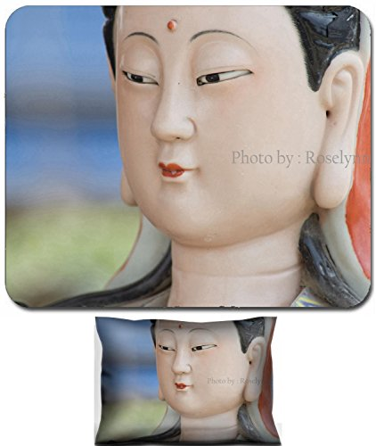 Liili Mouse Wrist Rest and Small Mousepad Set, 2pc Wrist Support Traditional Colorful porcelain Chinese Goddess (Goddess Porcelain)