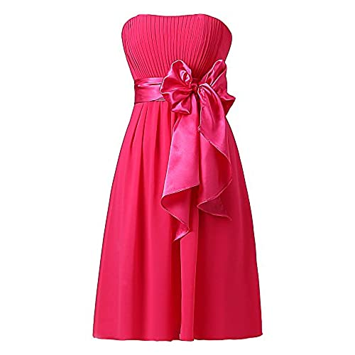 Ouman Sweetheart Bridesmaid Chiffon Prom Dresses Short Evening Gowns Fucshsia XS