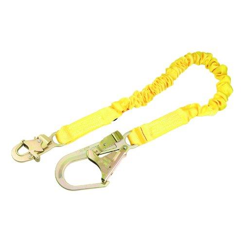 6' Shock Tubular Web (3M DBI-SALA Shockwave 2, 1244321 6' Shock Absorbing Lanyard, Tubular Web, Steel Rebar Hook On Leg End, Snap Hook On Other, Yellow)