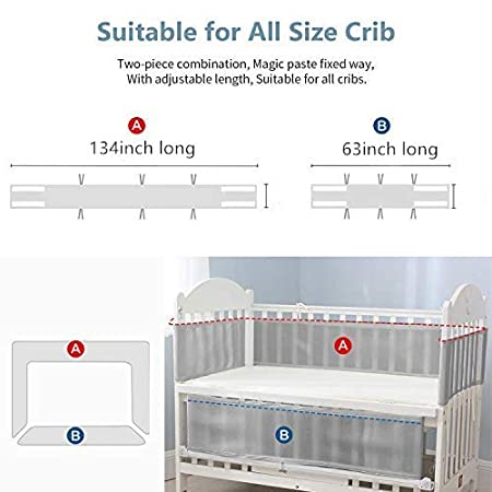 Pink SUNELF Breathable Mesh Crib Bumper Pads Safe Classic Crib Liner Soft Lightweight Polyester Bumper Pads for Standard Baby Crib