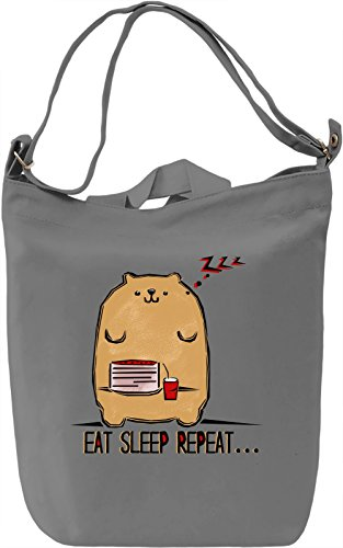 Eat Sleep Repeat Borsa Giornaliera Canvas Canvas Day Bag| 100% Premium Cotton Canvas| DTG Printing|
