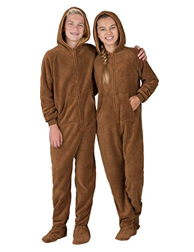 Footed Pajamas - Teddy Bear Kids Hoodie Chenille Onesie - Small -