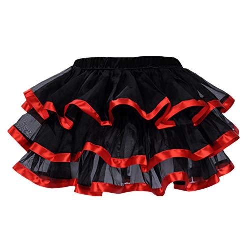 Femme Yonglan Vintage Jupon Taille Tutu Multi Court Plisse Haute Tulle Jupe Rouge AHq4d