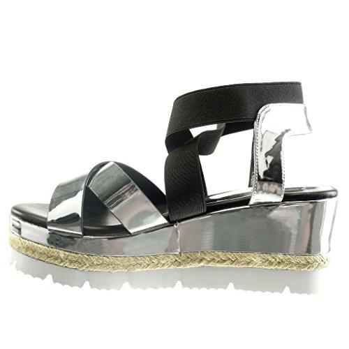 Angkorly - Zapatillas de Moda Sandalias suela de zapatillas zapatillas de plataforma mujer brillantes cuerda Talón Plataforma 7.5 CM - Plata