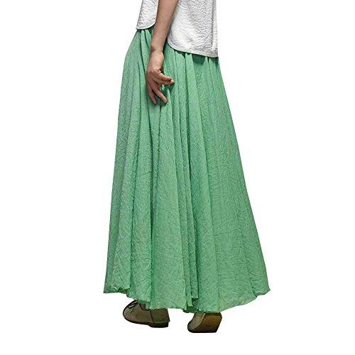 Coton 2 amp;Lin Plage Dress CM 85 en de Jupe Femme Elastique Tour Mariage Casual Boheme Taille Vert q87zF6f
