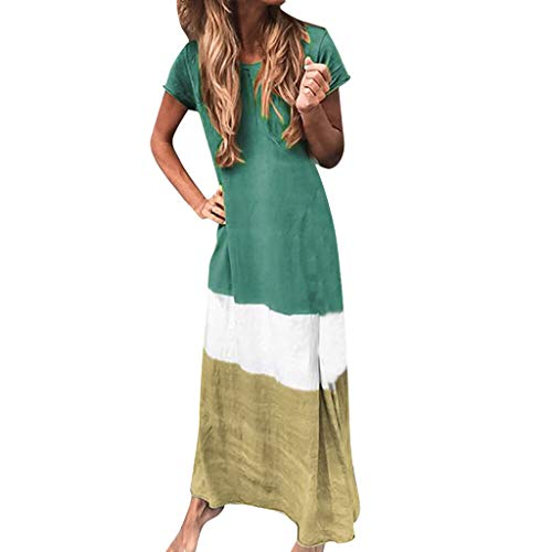 Mikilon Women's Color Block Short Sleeve Casual Loose Color Block Oversized Maxi Dress Green