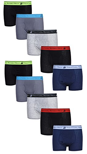 Beverly Hills Polo Club Boys' Solid Boxer Briefs, Assortment 1, X-Large / 16-18 (Pack of 10)