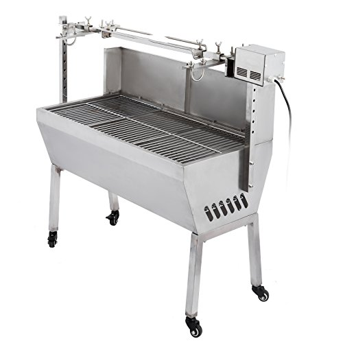 VEVOR Rotisserie Grill Roaster Stainless Steel Capacity Spit Roaster Rotisserie Pig Lamb Roast Goat Chicken BBQ Spit Roaster Portable Picnic Outdoor Cooker Grill (Capacity 132 Lbs/60KG)