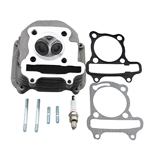 - GOOFIT 57.4mm Cylinder Head with Gasket for 4 Stroke GY6 150cc ATV Scooter 157QMJ Engine Part