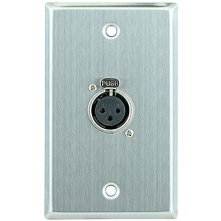 Female XLR Single-Gang Wall Plate, Stainless Steel