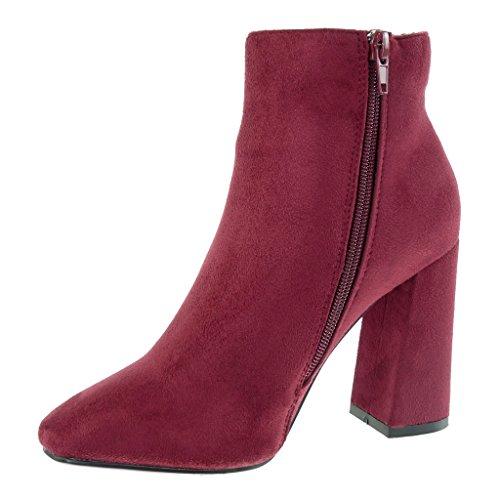Angkorly Damen Schuhe Stiefeletten - Reitstiefel - Kavalier Blockabsatz 9.5 cm Burgunderrot