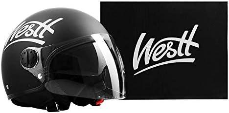 Certificado ECE Westt Vintage Casco de Moto Jet Abierto Negro Mate Ligero y Duradero