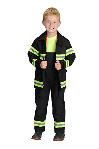 Aeromax Jr. LOS ANGELES Fire Fighter Suit, Black, Size 8/10.  The best #1 - Award Winning firefighter suit.  The most realistic bunker gear for kids everywhere.  Just - Best Most