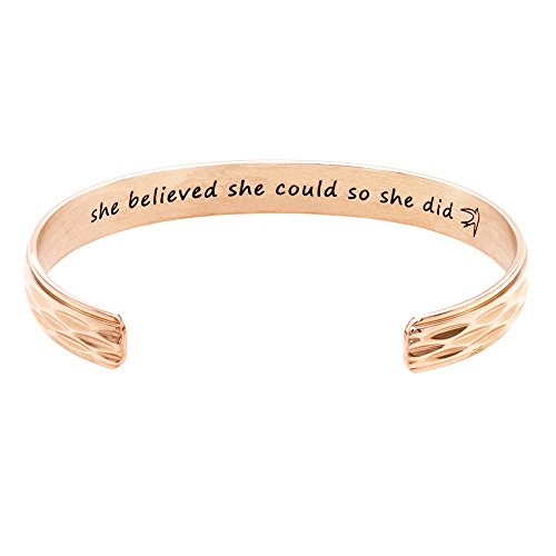 Melix Home She believed she could so she did Inspired Hand Stamped expandable Cuff bracelet (Rose-Gold02)