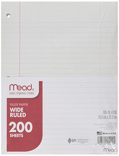 wide ruled loose leaf paper 4 black marbled composition books, wide-ruled 6 glue sticks 1 pack of notebook paper, wide ruled 2 packs wide-ruled loose leaf paper 1 box sandwich sized ziploc bags.