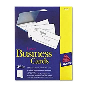 Amazon avery business cards for laser printers 5376 ivory avery laser perforated business card a8 2ampquot x 35ampquot 250 x card white reheart Image collections