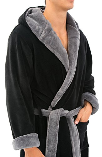 16821ee4b3 Alexander Del Rossa Mens Fleece Solid Colored Robe