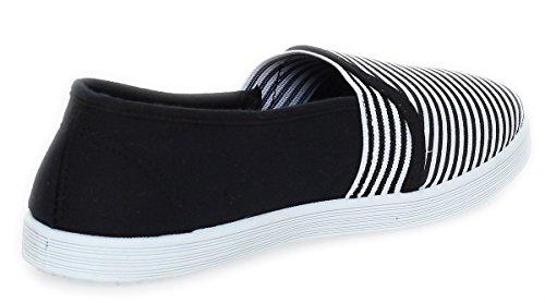 Bailarinas Señoras Mocasines Zapatos Verano Calzado Deportivo Rayas 15 W Negro