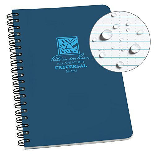 Rite in the Rain All-Weather Side-Spiral Notebook, 4 5/8 x 7, Blue Cover, Universal Pattern (No. 273)