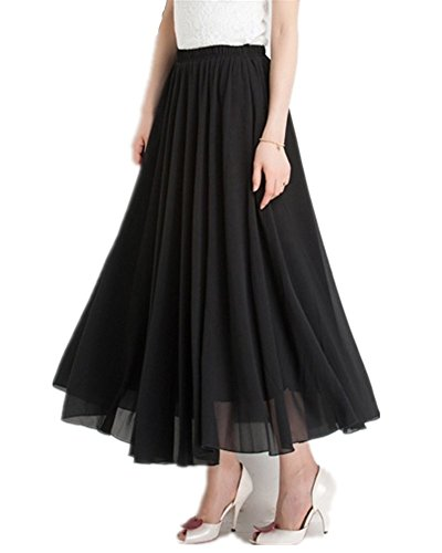 Mullsan Women Retro Vintage Double Layer Chiffon Pleat Maxi Long Skirt Dress (Black), One (Chiffon Circle Skirt)
