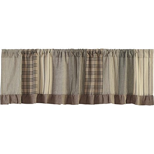 VHC Brands Farmhouse Kitchen Window Curtains - Sawyer Mill Grey Patchwork Valance, 19x72, Charcoal