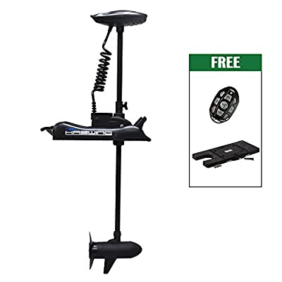 "Aquos Black Haswing 12V 55LBS 48"" Shaft Bow Mount Electric Trolling Motor Portable, Variable Speed with Quick Release Bracket for Bass Fishing Boat Freshwater and Saltwater Use,Energy Saving"