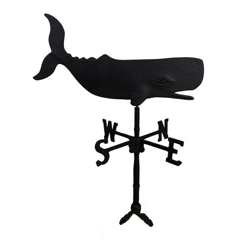 Montague Metal Products 32-Inch Weathervane with Satin Black Whale Ornament