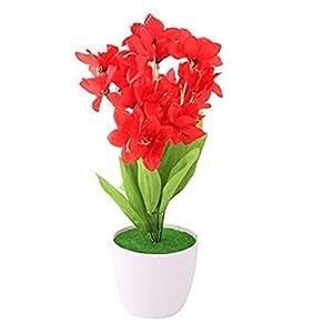MARJON FlowersFabric Home Narcissus Desktop Decor DIY Craft Artificial Simulation Flower Red 40