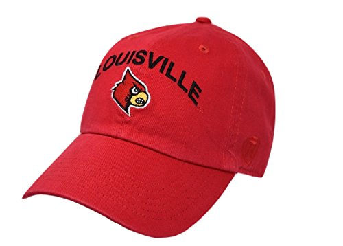(Top of the World NCAA Louisville Cardinals Men's Adjustable Hat Relaxed Fit Team Arch, Red)