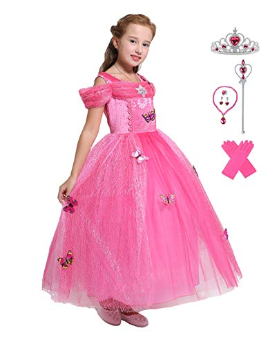 Lito Angels Girls Princess Aurora Dress Up Costume Halloween Fancy Dress with Accessories Size 8/10 -