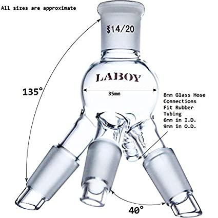 Laboy HMD012501 Glass Distilling Receiver with 14//20 Joints and Hose Connection for Short Path Distillation Head