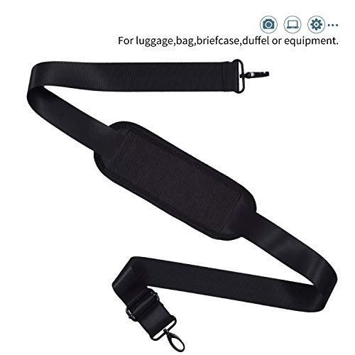 Universal Shoulder Strap Replacement Luggage Duffle Bag Strap Detachable Soft Padded Adjustable Belt with Metal Swivel Hooks Compatible Duffel Briefcase Computer Bags Laptop Case Messenger Bag, Black