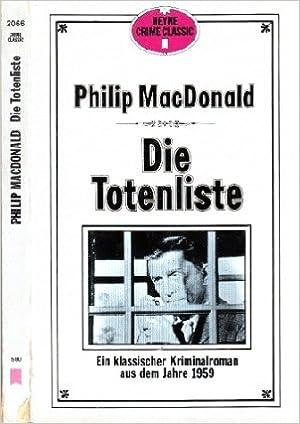 Philip MacDonald - Die Totenliste