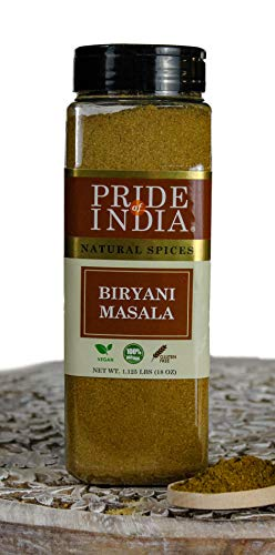 Pride Of India - Natural Biryani Masala Seasoning Spice Blend Powder, 18 oz (510 gm) Large Dual Sifting Jar - Great for Chicken Biryani, Vegetable Biryani, Paella, Rice Pilaf - Amazing Value for Money