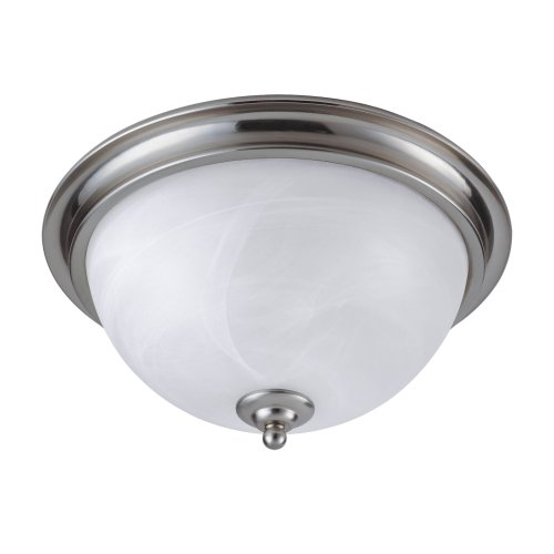 Westinghouse Lighting 64094 Brandt Point Two-Light Flush Mount Ceiling Fixture, Brushed Nickel Finish with White Alabaster Globes (What Alabaster Is Glass)