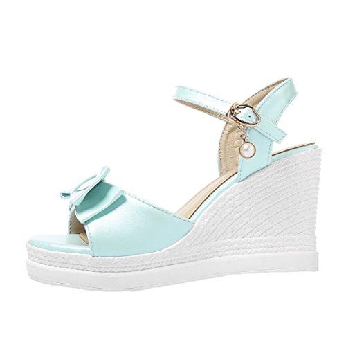 AIYOUMEI Knöchelriemchen High Heels Keilabsatz Sandalen mit Schleife und Schnalle Süß Schuhe Blue