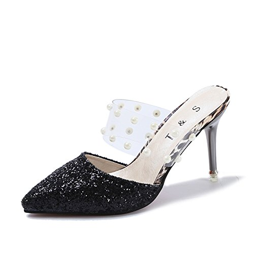 Sandals Heels Pointed high Toe Shoes Black high Slipper Women's Heeled 1 Handmade MINIKATA wqCIvpq