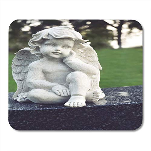 Mouse Pads Ancient Figure of Cute Little Cupid Angel As Symbol Love Kindness and Suffering Sweet Cherub with Wings Mouse Pad for Notebooks,Desktop Computers Office Supplies