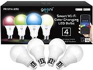 Geeni Paquete de 4 bombillas LED inteligentes Wi-Fi multicolor y blanco – equivalente a 75 W, no requiere conc