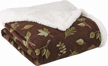 """Cabelas Reversible Sherpa fleece throw 50""""x70"""" Leaves and Br"""