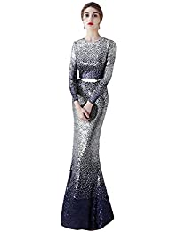 Womens Gradient Sequin Evening Prom Dresses Long Mermaid Formal Gown P619