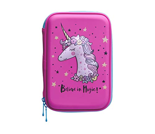 Cute Embossed Hardtop Pink Unicorn Pencil Case Organizer - Magical Unicorn Design - Girls Cosmetic Pouch