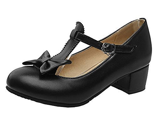 Buckle Shoes Solid WeiPoot Low Material Toe Soft Round Black Women's Pumps Heels 615Cwq
