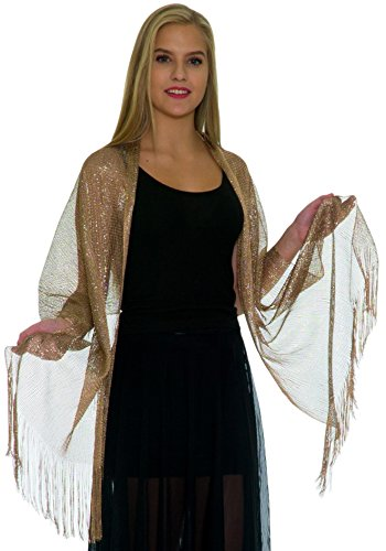 - Shawls and Wraps for Evening Dresses - Womens Scarves for Prom, Wedding, Bridal, Party - Scarfs for Women with Fringe - Metallic Gold Scarf by Petal Rose