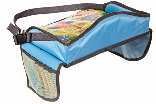 childrens travel tray kids play tray for snacks car bus train and plane journeys small blue by driving with kids works on buggy and pushchair
