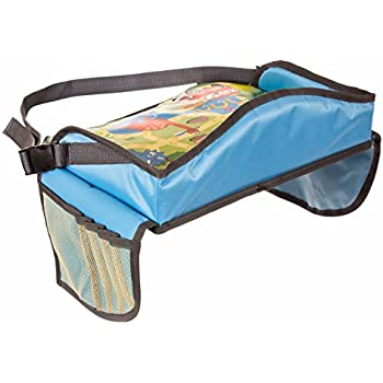 Childrens Travel Tray – Kids Play Tray for Snacks Car Bus Train and Plane Journeys – Small – Blue – By Driving With Kids – Works on Buggy and Pushchair